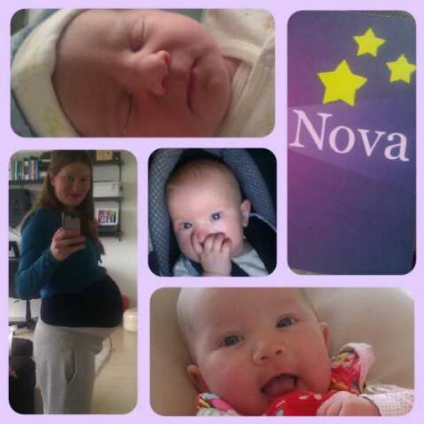 Vlak voor en vlak na de geboorte, 3 maanden en 4,5 maand.