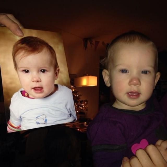 Nova van ruim 9 maanden naast een foto van Lyse van 10 maanden.