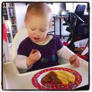 Patat met frikadellen!!