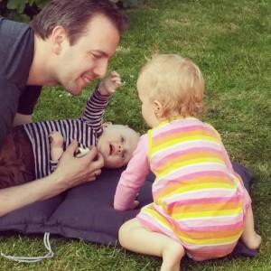 In de tuin in Nieuwkoop met Martijn en Kylian.