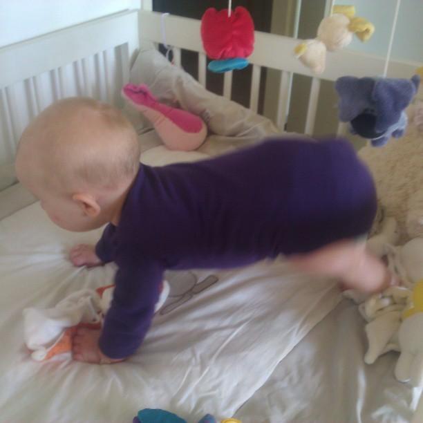 Ze wil zo graag staan, is echt continu aan het proberen. Zitten en kruipen is blijkbaar voor mietjes. Nova begint met staan. En als we haar dan helpen staat ze helemaal te glunderen!